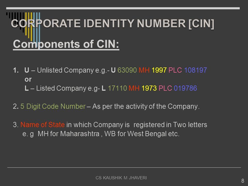 CORPORATE IDENTITY NUMBER [CIN]